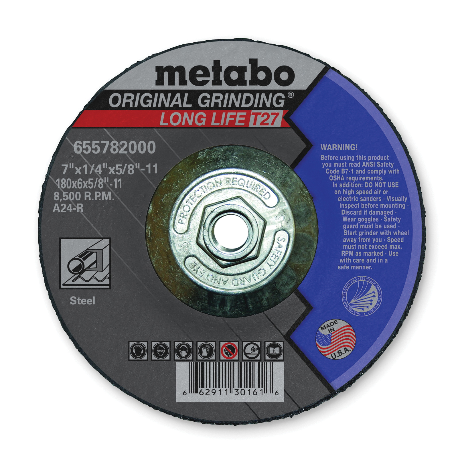 metabo® 655782000 Original Grinding® Long Life General Purpose Depressed Center Wheel With Hub, 7 in Dia x 1/4 in THK, A24R Grit, Aluminum Oxide Abrasive