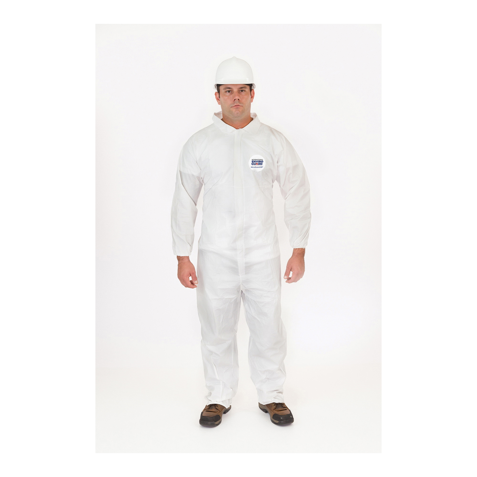 MicroGuard MP® 8012-2XL Breathable Disposable Coverall With Standard Collar, Elastic Wrist, Back and Open Ankle, 2XL, White, Microporous Fabric, 45 to 48 in Chest, 30-1/2 in L Inseam