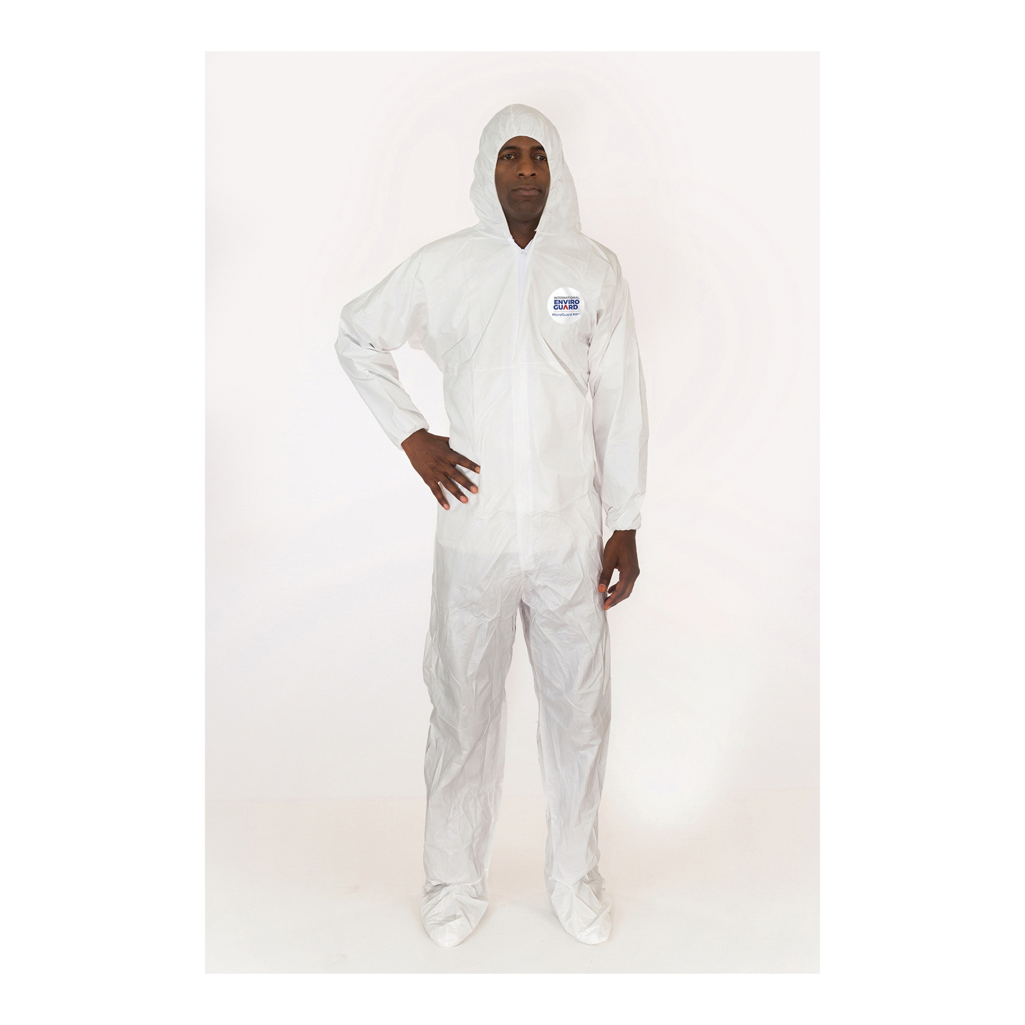 MicroGuard MP® 8019-L Breathable Disposable Coverall With Attached Hood and Boots, Elastic Wrist and Elastic Back, L, White, Microporous Fabric, 39 to 42 in Chest, 29 in L Inseam