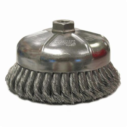 Weiler® 12866 Single Row Cup Brush, 6 in Dia Brush, 5/8-11 UNC Arbor Hole, 0.035 in Dia Filament/Wire, Standard/Twist Knot, Steel Fill