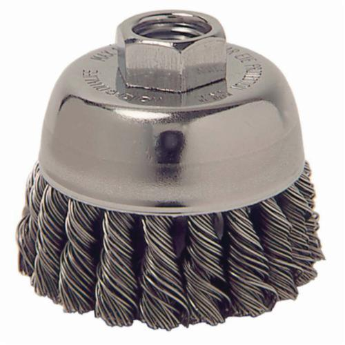 Mighty-Mite™ 13016 Single Row Cup Brush, 2-3/4 in Dia Brush, M10x1.5 Arbor Hole, 0.014 in Dia Filament/Wire, Standard/Twist Knot, Steel Fill