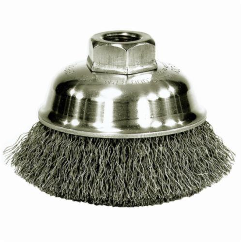 Mighty-Mite™ 13175 Cup Brush, 3-1/2 in Dia Brush, M10x1.25 Arbor Hole, 0.014 in Dia Filament/Wire, Crimped, Steel Fill