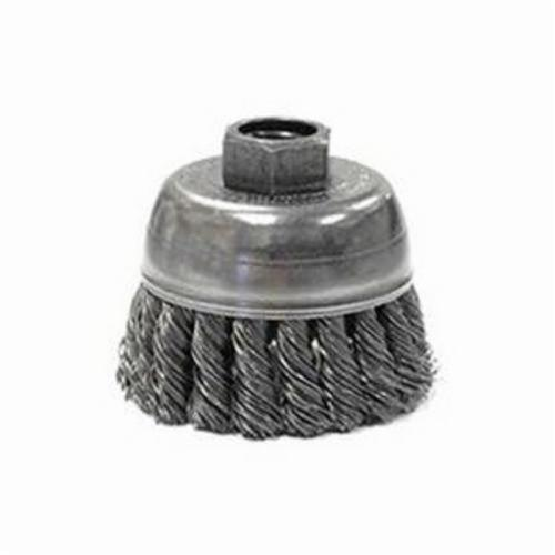 Mighty-Mite™ 13283 Single Row Cup Brush, 2-3/4 in Dia Brush, M14x2 Arbor Hole, 0.02 in Dia Filament/Wire, Standard/Twist Knot, Steel Fill