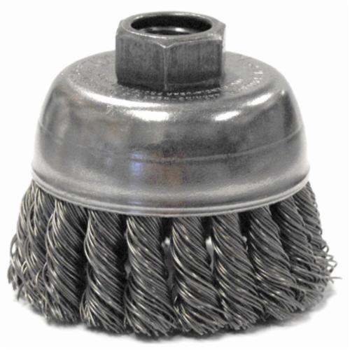 Mighty-Mite™ 13285 Single Row Cup Brush, 2-3/4 in Dia Brush, 1/2-13 UNC Arbor Hole, 0.02 in Dia Filament/Wire, Standard/Twist Knot, Steel Fill