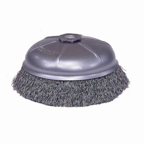 Mighty-Mite™ 14076 Internal Nut Cup Brush, 6 in Dia Brush, 5/8-11 UNC Arbor Hole, 0.02 in Dia Filament/Wire, Crimped, Steel Fill