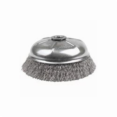 Mighty-Mite™ 14166 Internal Nut Cup Brush, 6 in Dia Brush, 5/8-11 UNC Arbor Hole, 0.02 in Dia Filament/Wire, Crimped, Stainless Steel Fill