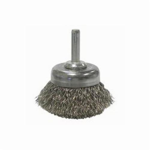 Weiler® 14304 Stem Mounted Utility Cup Brush, 1-3/4 in Dia Brush, 0.0118 in Dia Filament/Wire, Crimped, Stainless Steel Fill