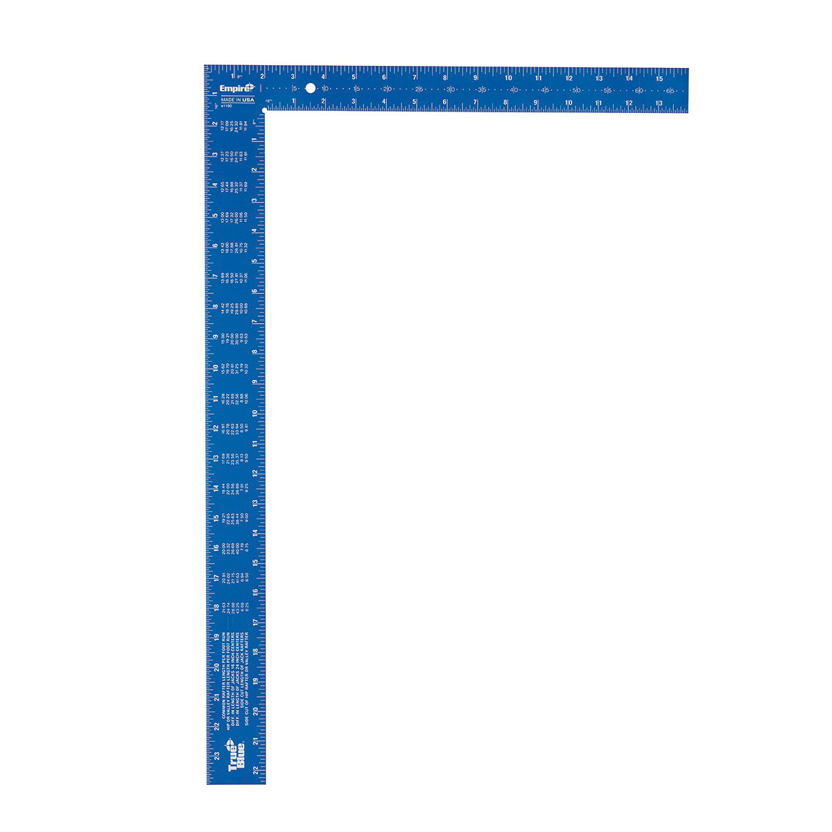 Empire® TRUE BLUE® 1190 Laser Etched Framing Square, 24 in L Blade/16 in L Beam, 1/8 in, 1/10 in, 1/12 in, 1/16 in Graduation, 90 deg, 16 x 1-1/2 in Tongue, Aluminum