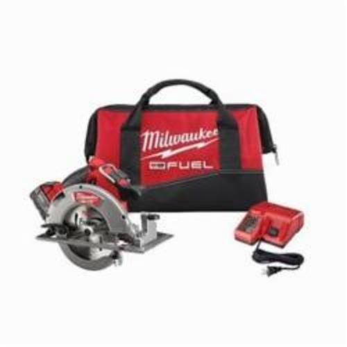 Milwaukee® 2731-21 M18™ FUEL™ Cordless Circular Saw Kit, 7-1/4 in Blade, 5/8 in Arbor/Shank, 18 VDC, 1-7/8 in, 2-1/2 in D Cutting, Lithium-Ion Battery