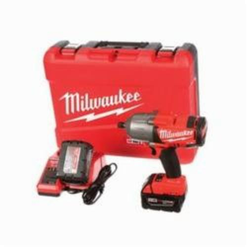 Milwaukee® 2762-22 M18™ FUEL™ High Torque Cordless Impact Wrench Kit With Pin Detent, 1/2 in Straight Drive, 1700/2300 bpm, 350 ft-lb (Mode 1), 600 ft-lb (Mode 2) Torque, 18 VDC, 8-3/4 in OAL
