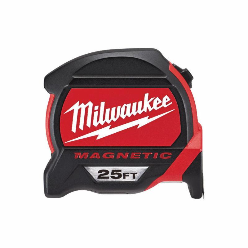 Milwaukee® 48-22-7125 Magnetic Premium Measuring Tape With Bonus Tape, 25 ft L, Imperial Measuring System