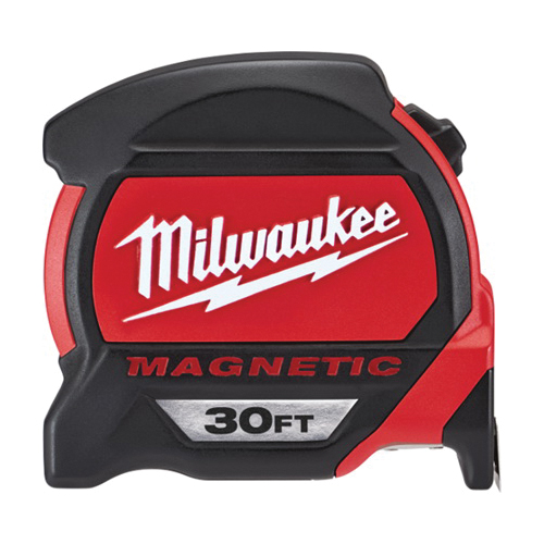 Milwaukee® 48-22-7130 Magnetic Premium Measuring Tape With Belt Clip, 30 ft L x 1 in W Blade, Steel Blade, Imperial Measuring System, 1/16 in Graduation