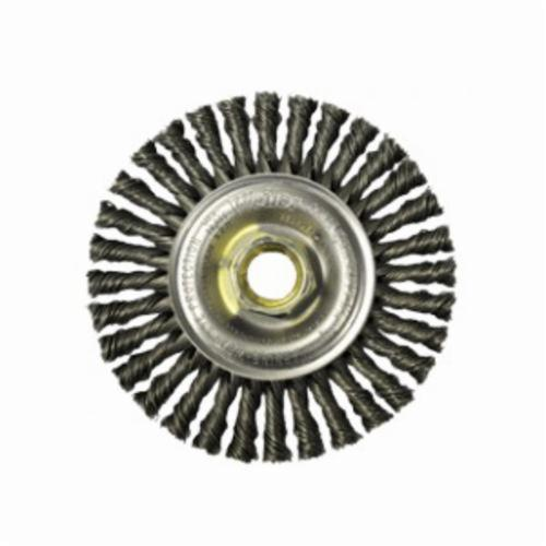 Mini Roughneck® 13138P Narrow Face Wheel Brush With Nut, 4 in Dia Brush, 3/16 in W Face, 0.02 in Dia Stringer Bead Knot Filament/Wire, 5/8-11 Arbor Hole