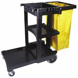 Rubbermaid® FG617388BLA Multi-Shelf Cleaning Cart With Zippered Yellow Bag, 25 gal Trash Bag, 3 Shelves, Structural Web Plastic, Black, 46 in L x 21.8 in W x 38.4 in D