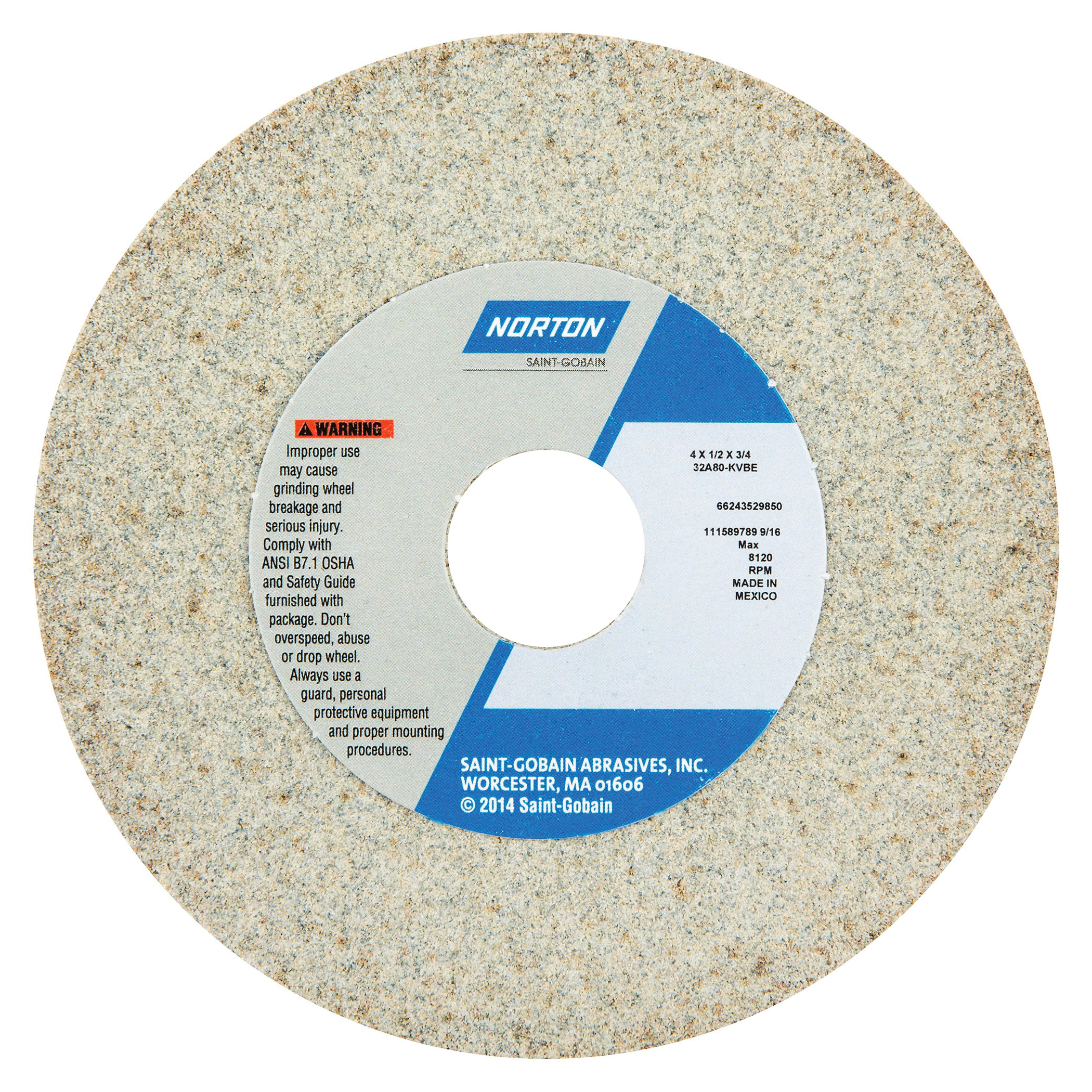 Norton® 66243529849 32A Straight Toolroom Wheel, 4 in Dia x 1/2 in THK, 3/4 in Center Hole, 60 Grit, Aluminum Oxide Abrasive