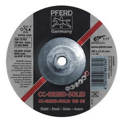 PFERD CC-GRIND®-SOLID Performance Line SG 61223 Threaded Coated Abrasive Disc, 7 in Dia
