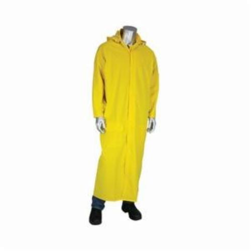 PIP® FALCON™ Base35FR™ 205-320FR/2X Premium Waterproof Duster Rain Coat With Limited Flammability, Unisex, 2XL, Yellow, Corduroy/Polyester/PVC, Resists: Flame and Water, Specifications Met: ASTM D6413