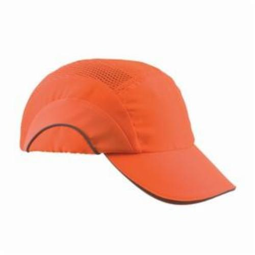 JSP® HARDCAP A1+™ 282-ABR170-OR Baseball Style Low Profile Standard Brim Bump Cap, OS, Hi-Viz Orange, HDPE with EVA Foam Padding Liner/80% Polyester/20% Cotton Cap, Elastic Strip Suspension, Specifications Met: EN 812 A1