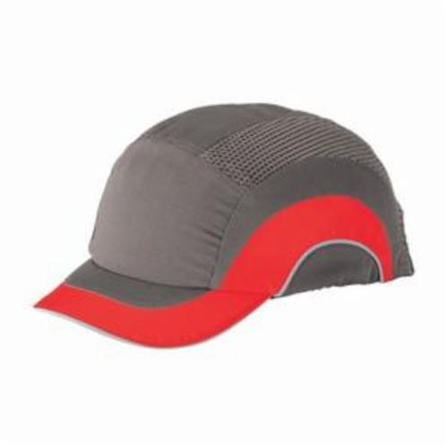 JSP® HARDCAP A1+™ 282-ABS150-62 Adjustable Back Baseball Style Low Profile Short Brim Bump Cap, OS, Gray/Red, HDPE with EVA Foam Padding Liner/80% Polyester/20% Cotton Cap, Elastic Strip Suspension, Specifications Met: EN 812 A1