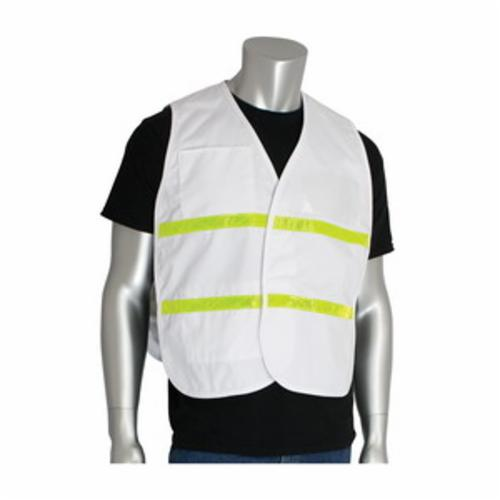 PIP® 300-1511/2X-3X Incident Command Vest, 2XL/3XL, White, Polyester, 42.1 in Chest, Hook and Loop Closure