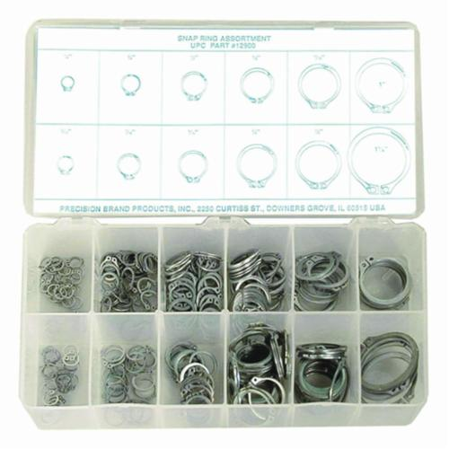 Precision Brand® 12900 Snap Ring Assortment, 1/4 to 1-1/4 in, 300 Pieces, Spring Steel, Zinc Plated