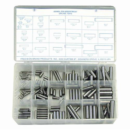 Precision Brand® 12912 Dowel Pin Assortment, 176 Pieces, Steel, Plain