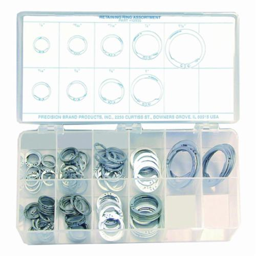 Precision Brand® 12935 Retaining Ring Assortment, 1/2 to 1-1/4 in, 140 Pieces, Spring Steel, Zinc Plated
