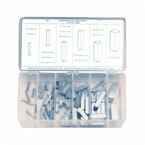 Precision Brand® 12955 Machinery Keystock Assortment, 58 Pieces, Steel, Zinc Plated
