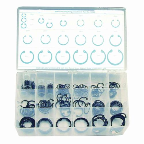 Precision Brand® 13985 Metric Housing Ring Assortment, 10 to 40 mm, 218 Pieces, Spring Steel, Black Phosphate