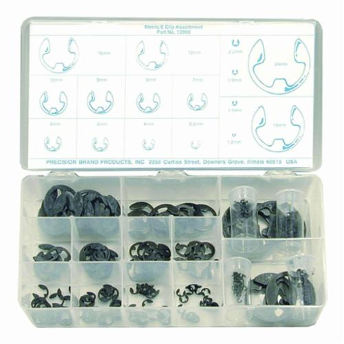 Precision Brand® 13990 E-Clip Assortment, 255 Pieces, Steel, Black Phosphate, 1.2 to 24 mm
