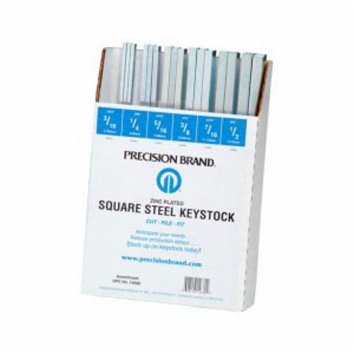 Precision Brand® 14680 Square Keystock Assortment, 32 Pieces, Steel, Zinc Plated