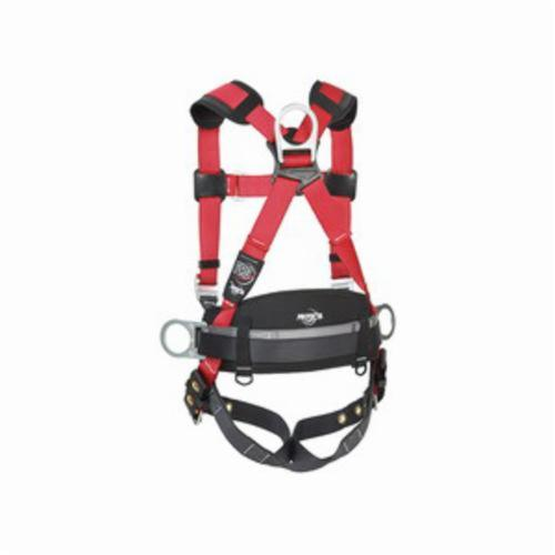 3M Protecta Fall Protection 1191209 Pro™ Construction Style Positioning Harness, M to L, 420 lb Load, Polyester Webbing Strap, Tongue Leg Strap Buckle, Stainless Steel Grommet/Steel Hardware, Red