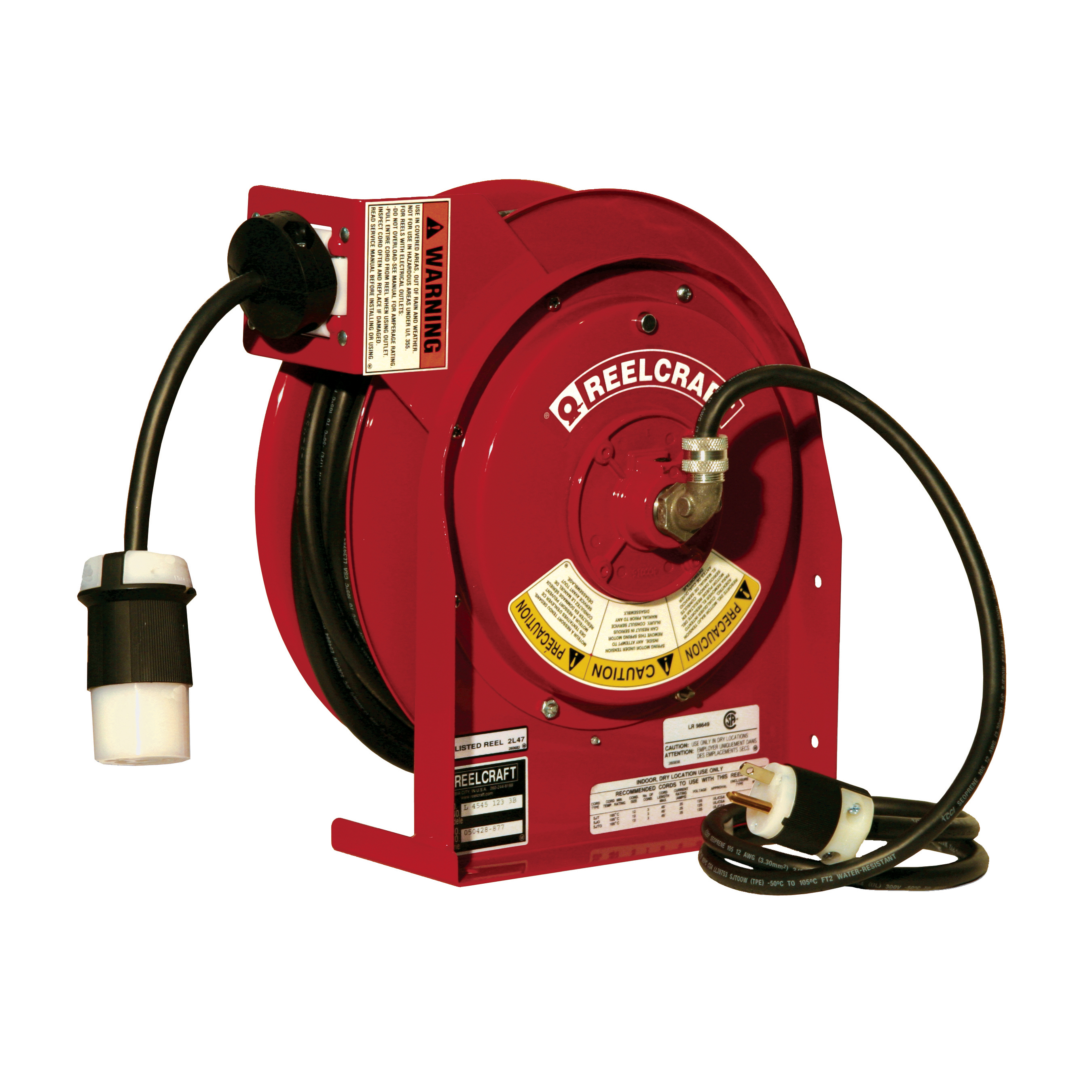 Reelcraft® L 4545 123 3A L 4000 Retractable Power Cord Reel With SJEOOW Cord, 125 VAC, 20 A, 45 ft L Cord, 12 AWG Conductor, 1 Outlets
