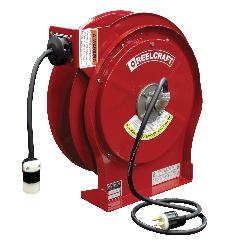 Reelcraft® L 5550 123 3 L 5500 Retractable Power Cord Reel With SJEOOW Cord, 125 VAC, 15 A, 50 ft L Cord, 12 AWG Conductor, 1 Outlets