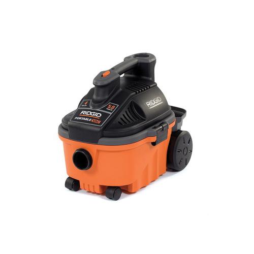 RIDGID® 31653 Wet/Dry Portable Vacuum Cleaner, 4 gal, 5 Hp, 9 A, 120 V, High Impact Polypropylene Housing
