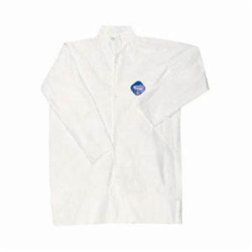 River City TY210SX3 Disposable Lab Coat With Collar, 3XL, White, Tyvek® Fabric, 45 in L, Front Snap Closure