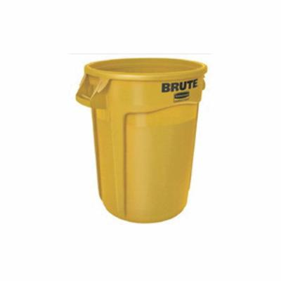 Rubbermaid® BRUTE® FG263246YEL Utility Waste Container Without Lid and USDA Condemned Black English and Spanish Imprint, 32 gal Capacity, Round, 22 in Dia, 27.2 in H, Plastic, Yellow