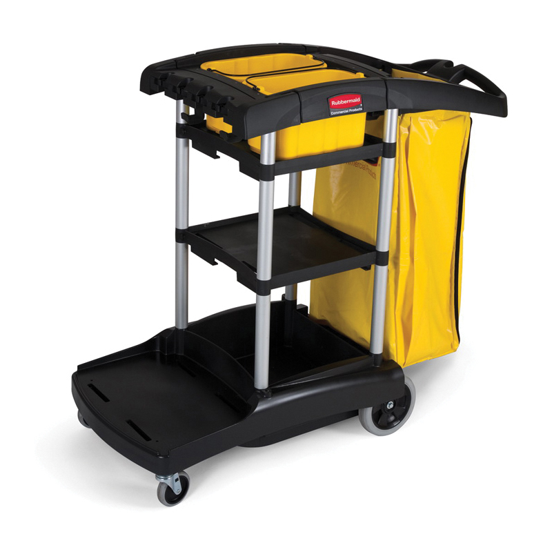 Rubbermaid® FG9T7200SPEC High Capacity Cleaning Cart, 34 gal Trash Bag, 1 Shelves, Plastic, 49.8 in L x 21.8 in W x 38.4 in D