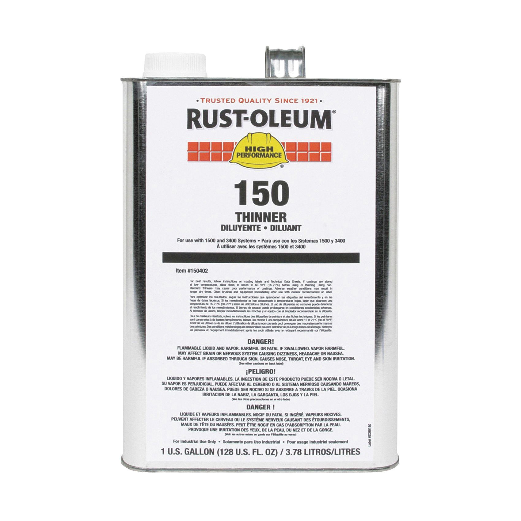 Rust-Oleum® 150402 1500 System Paint Thinner, 1 gal Can, Liquid Form, Clear, 220 to 520 sq-ft/gal Coverage