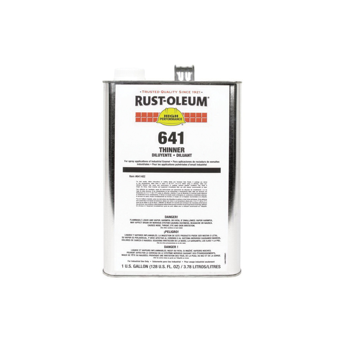 Rust-Oleum® 641402 641 System High Performance Paint Thinner, 1 gal, Liquid Form