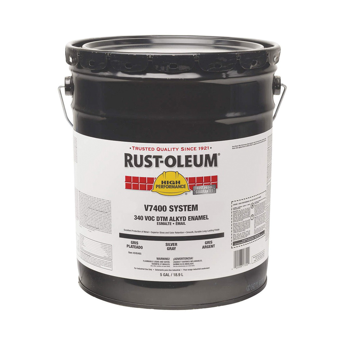 Rust-Oleum® 7086300 7400 System 1-Component Industrial Quick-Dry Enamel Primer, 5 gal Container, Liquid Form, Gray, 230 to 390 sq-ft/gal Coverage