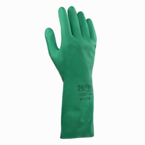 SolVex® 117274 37-175 Powder Free Chemical-Resistant Gloves, SZ 8 to 8.5, Nitrile, Green, Flock Lining, 13 in L, Resists: Abrasion, Chemical, Puncture and Snag, Unsupported Support, Straight Cuff, 15 mil THK