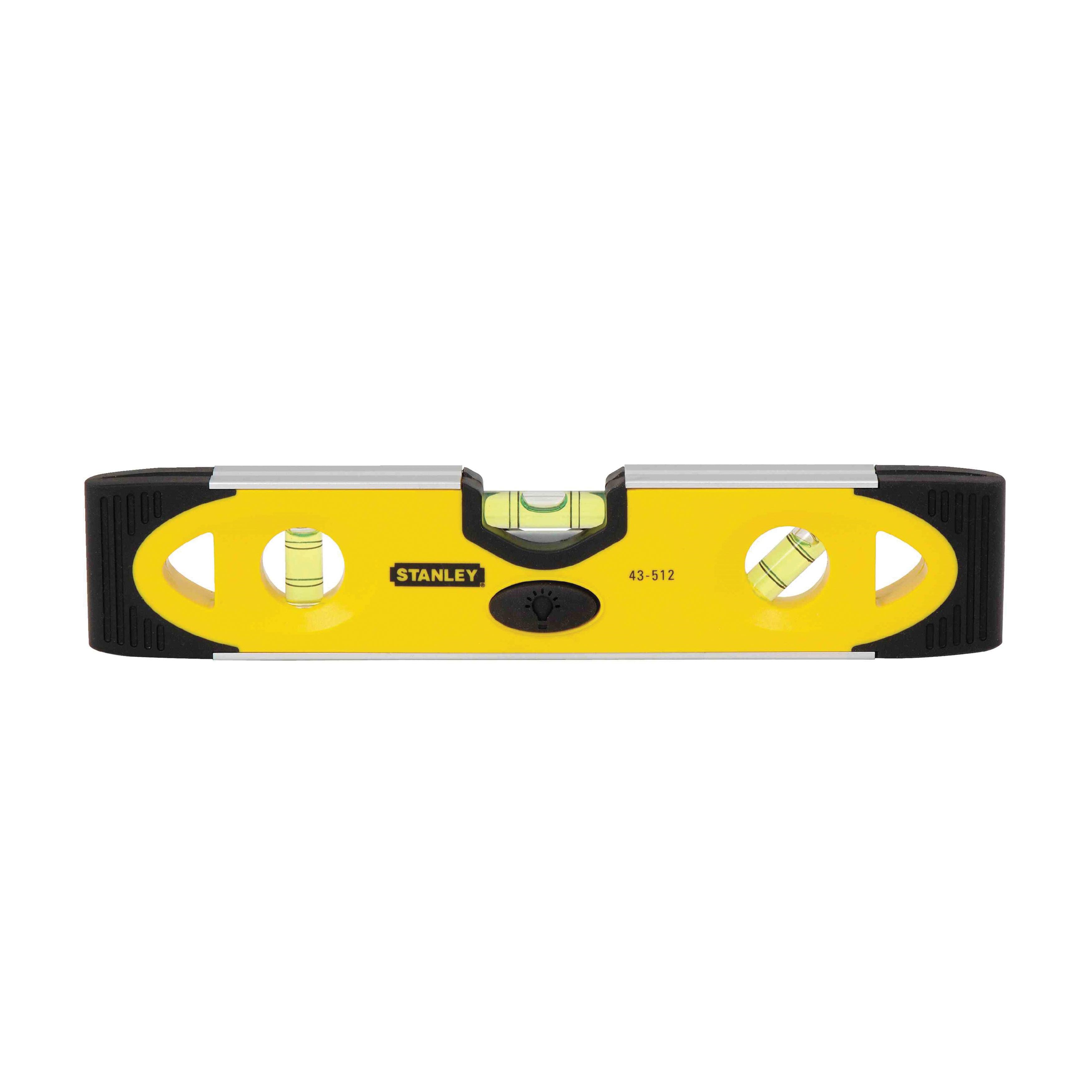 Stanley® 43-512 Lighted Magnetic Shock Resistant Torpedo Level, 9 in L, 3 Vials, (1) Level, (1) Plumb, (1) 45 deg Vial Position, 0.002 in, Aluminum