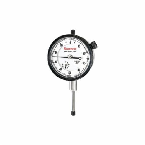 Starrett® 25-341J 25 Series AGD Group 2 Continuous Dial Dial Indicator, 1 in, 0 to 50 to 0 Dial Reading, 0.001 in, 2-1/4 in Dial, 13/64 in Dia Tip