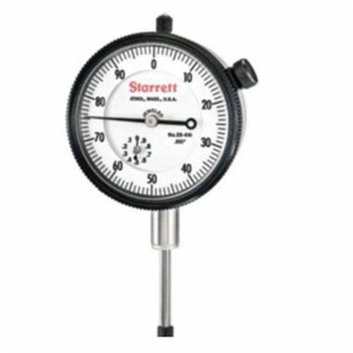 Starrett® 25-441J 25 Series AGD Group 2 Continuous Dial Dial Indicator, 1 in, 0 to 100 Dial Reading, 0.001 in, 2-1/4 in Dial