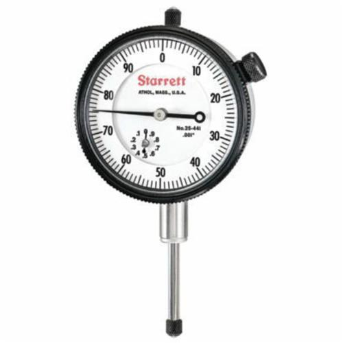 Starrett® 25-441P 25 Series AGD Group 2 Continuous Dial Dial Indicator, 1 in, 0 to 100 Dial Reading, 0.001 in, 2-1/4 in Dial
