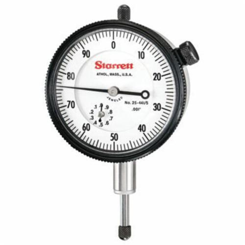 Starrett® 25-441/5J 25 Series AGD Group 2 Continuous Dial Dial Indicator, 1/2 in, 0 to 100 Dial Reading, 0.001 in, 2-1/4 in Dial