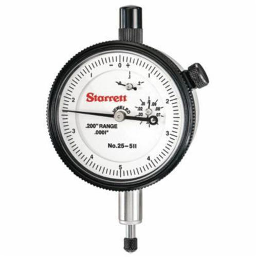Starrett® 25-511J 25 Series AGD Group 2 Continuous Dial Dial Indicator, 0.2 in, 0 to 5 to 0 Dial Reading, 0.0001 in, 2-1/4 in Dial, 13/64 in Dia Tip