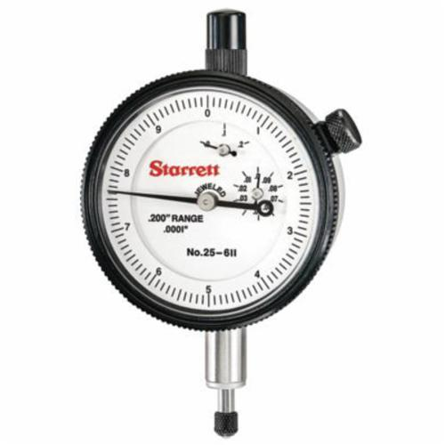 Starrett® 25-611J 25 Series AGD Group 2 Continuous Dial Dial Indicator, 0.2 in, 0 to 10 Dial Reading, 0.0001 in, 2-1/4 in Dial, 13/64 in Dia Tip