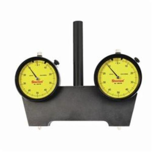 Starrett® 649-1M 649 Series Spindle Square With Two Dial Indicators, 2.5 mm, 0 to 50 to 0 Dial Reading, 0.01 mm, 2-5/16 in Dial, 1/4 in Tip